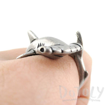 Hammerhead Shark Sea Creatures Shaped Wrap Around Ring in Silver | Size 5 to 9 | DOTOLY