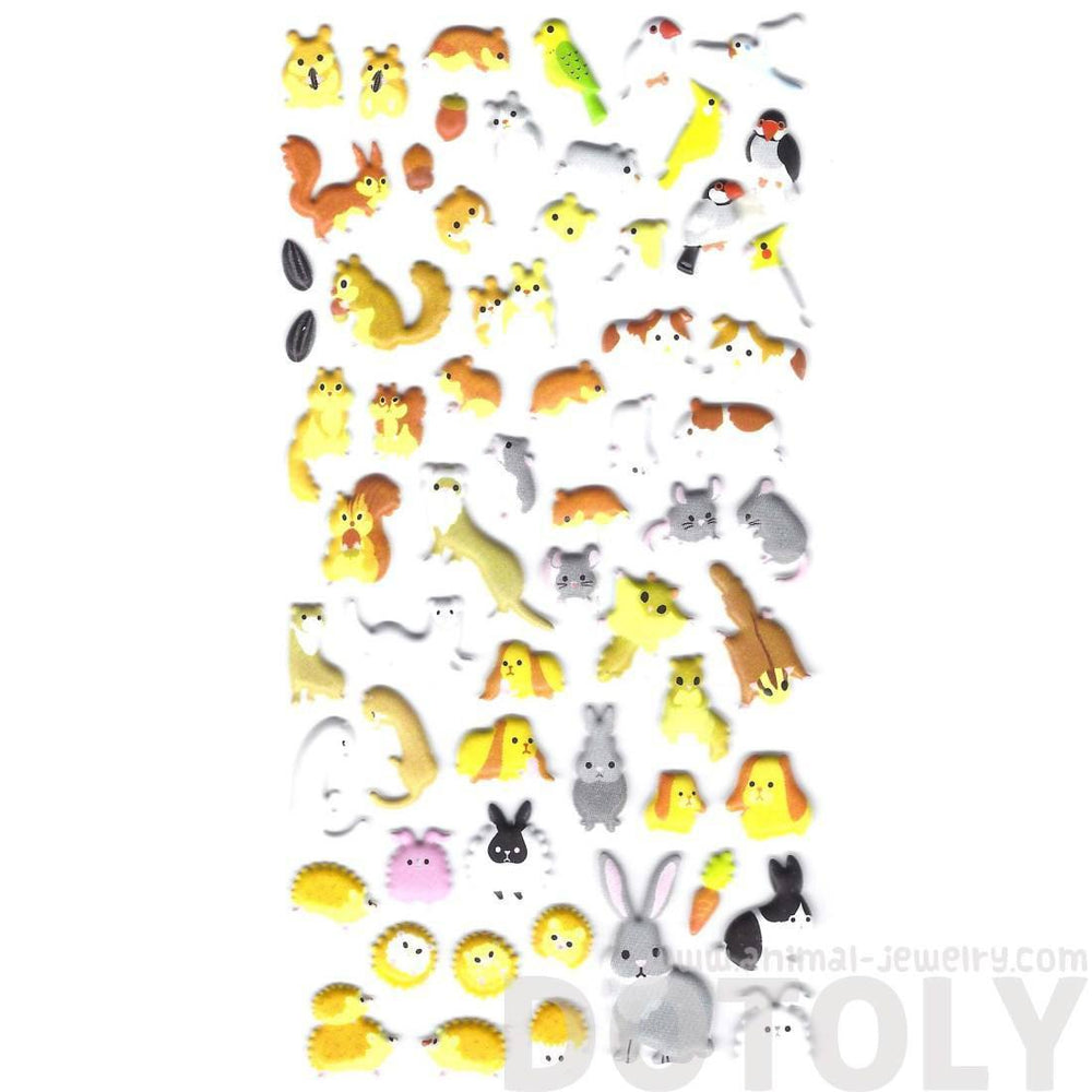 Hamster Guinea Pigs and Bunnies Shaped Animal Pet Themed Puffy Stickers | DOTOLY | DOTOLY