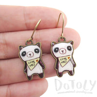 Hand Drawn Panda Bears Shaped Dangle Earrings | DOTOLY | DOTOLY