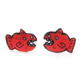 Hand Drawn Red Fish Animal Illustration Stud Earrings | Handmade Shrink Plastic | DOTOLY