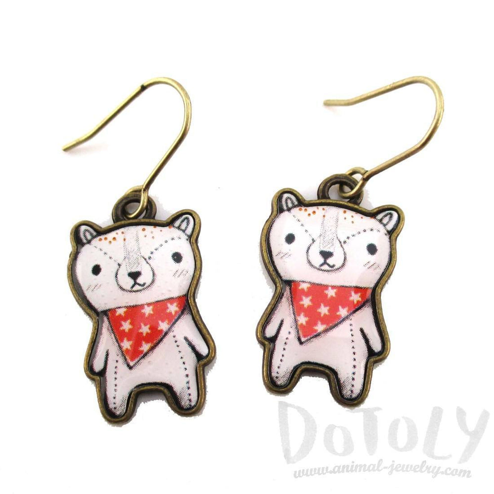 Hand Drawn Teddy Polar Bear Shaped Dangle Earrings | DOTOLY | DOTOLY