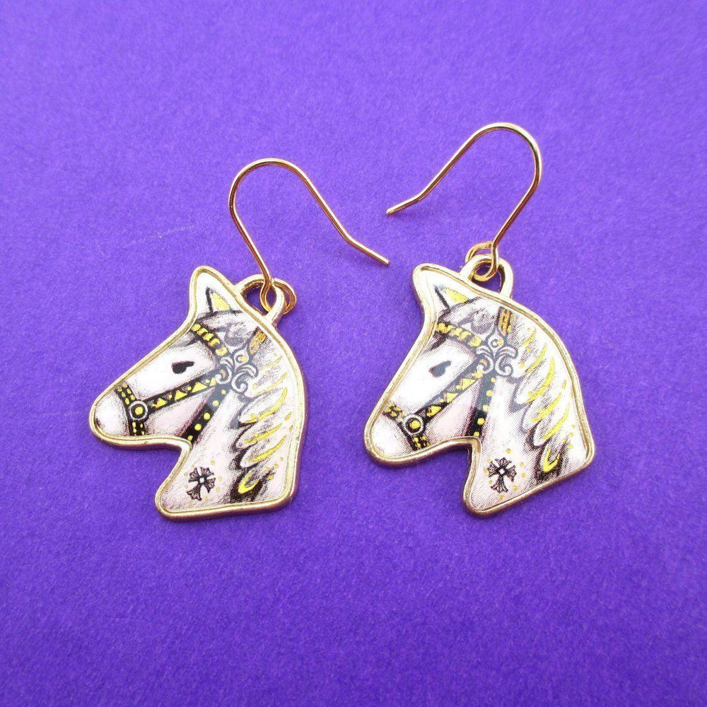 Hand Drawn White Horse Shaped Illustrated Dangle Earrings | Animal Jewelry | DOTOLY