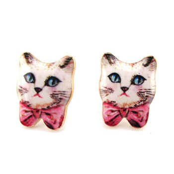 Hand Drawn White Kitty Cat with Pink Bows Shaped Stud Earrings | Animal Jewelry | DOTOLY