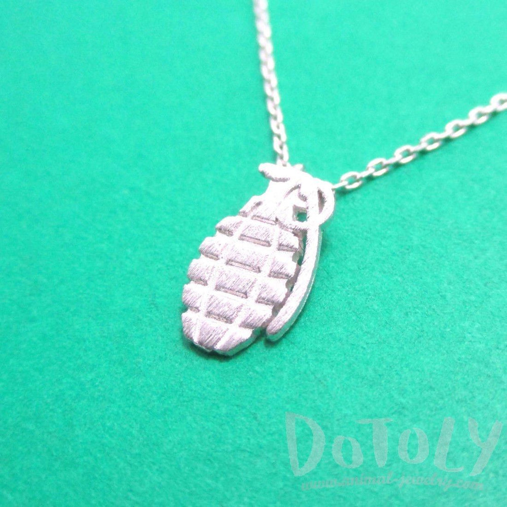Hand Grenade Shaped Pendant Necklace in Silver | DOTOLY | DOTOLY