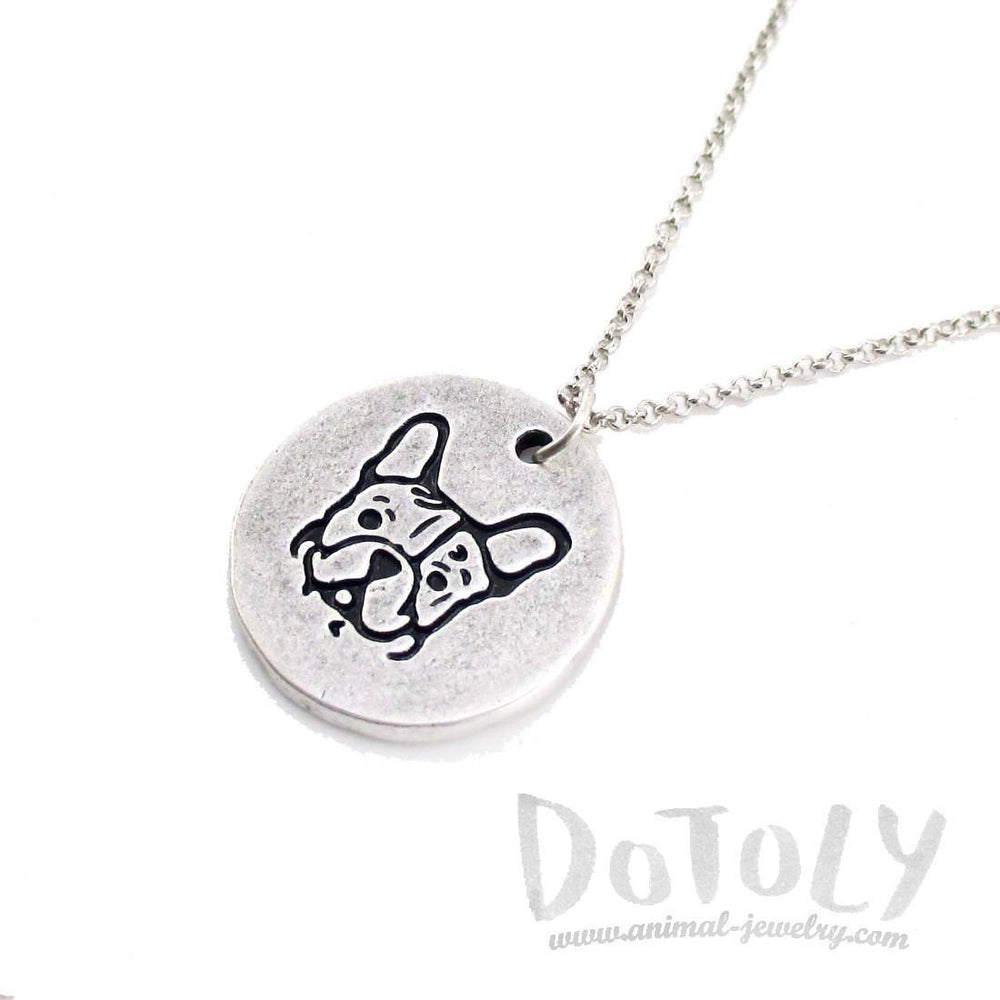 Hand Stamped French Bulldog Coin Pendant Necklace in Silver | Animal Jewelry | DOTOLY