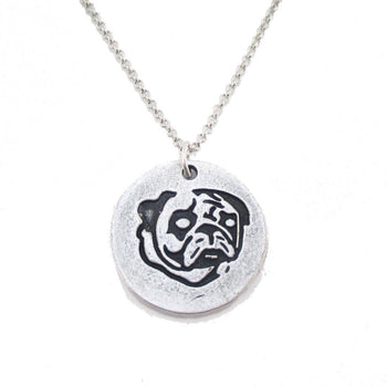 Hand Stamped Pug Puppy Coin Pendant Necklace in Silver | Animal Jewelry | DOTOLY