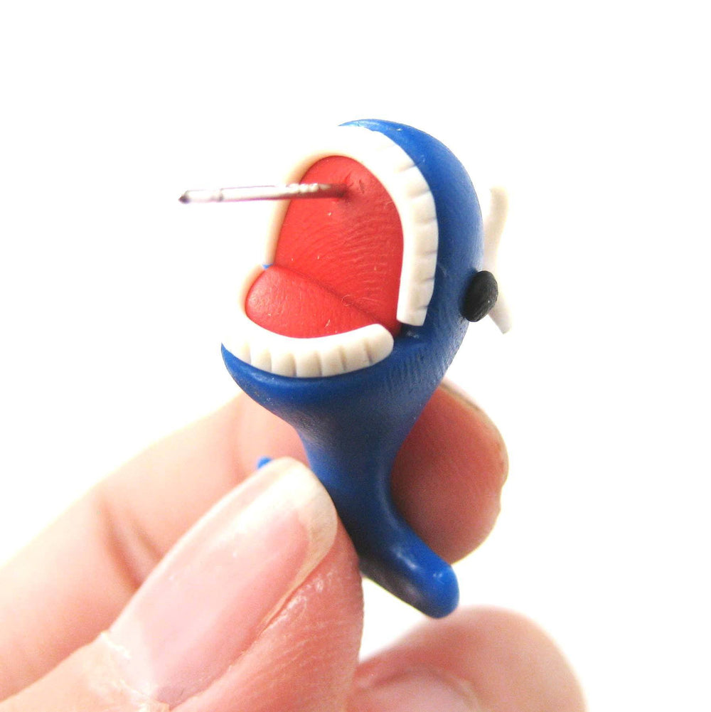 Handmade Adorable Whale Biting Your Ear Animal Polymer Clay Stud Earring | DOTOLY