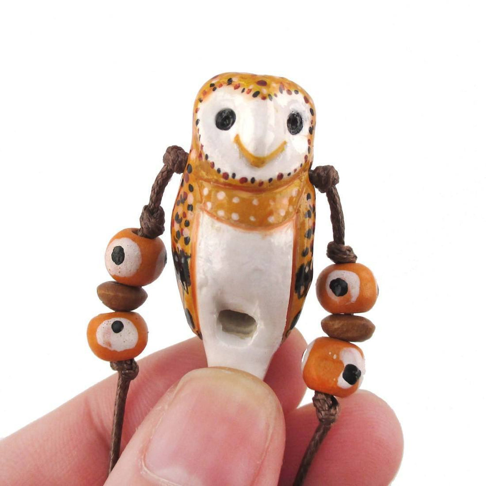 Handmade Barn Owl Shaped Hand Painted Bird Whistle Pendant Necklace | DOTOLY | DOTOLY
