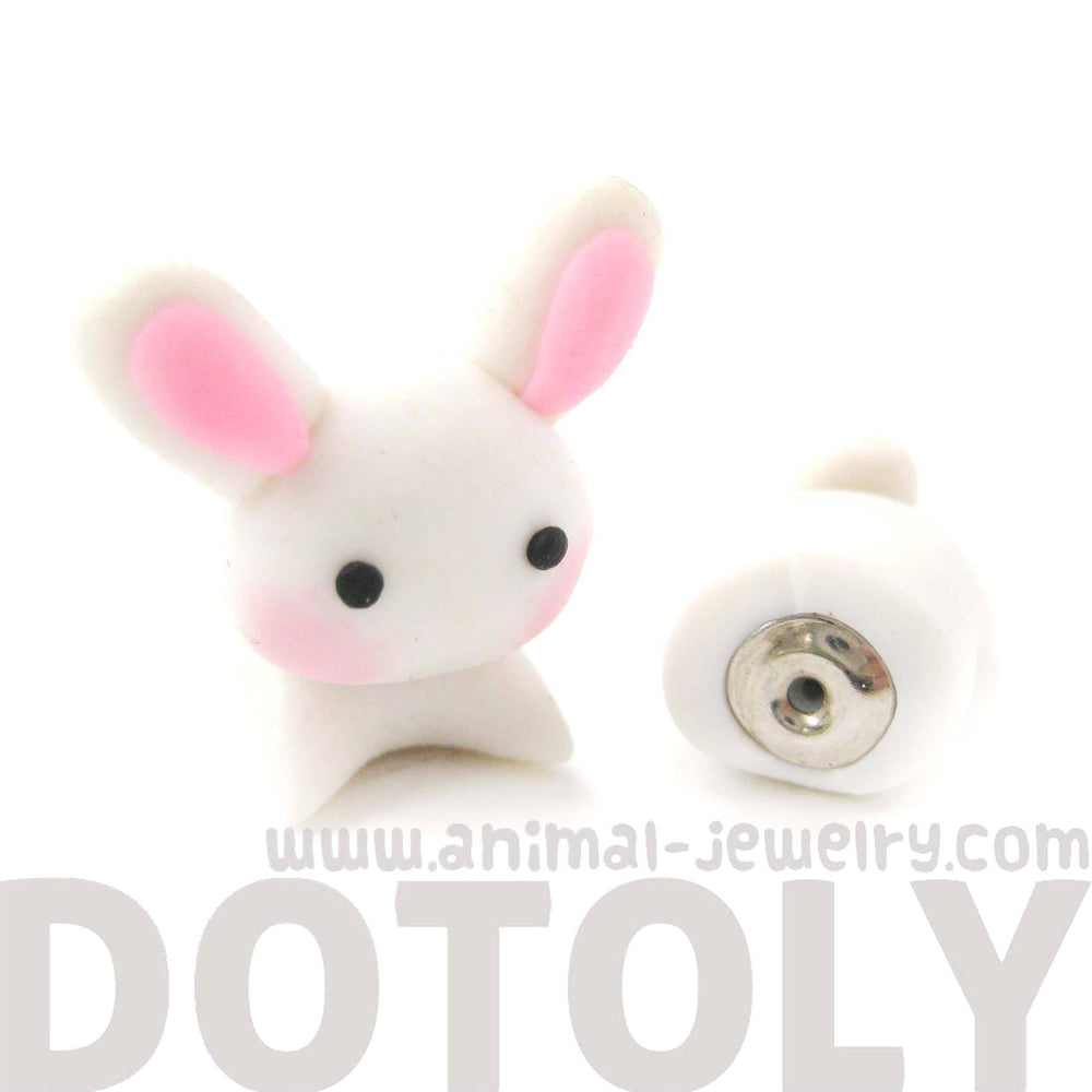 Handmade Bunny Rabbit Animal Fake Gauge Polymer Clay Stud Earring | DOTOLY | DOTOLY