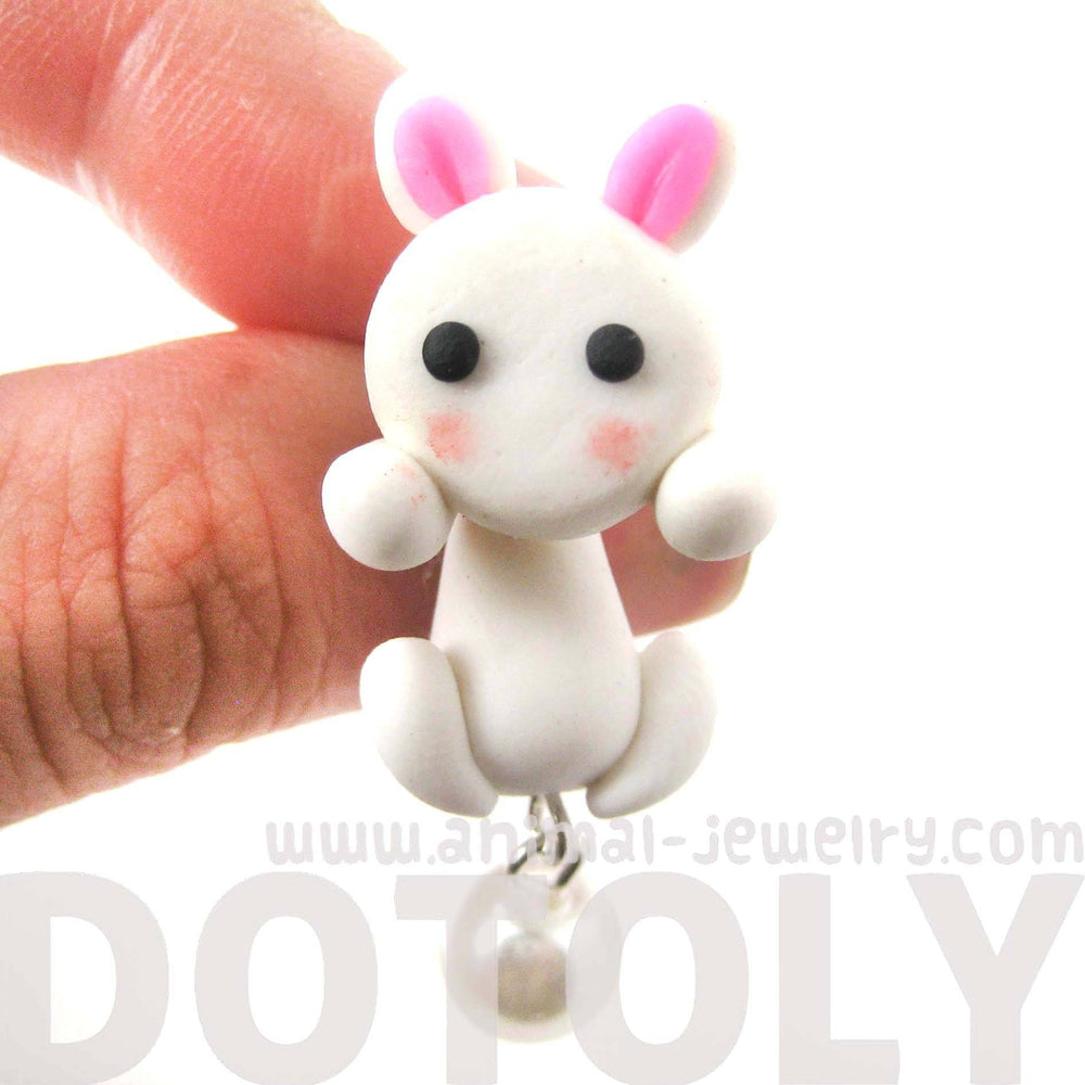 Handmade Bunny Rabbit Fake Gauge Two Part Polymer Clay Stud Earring in White | DOTOLY