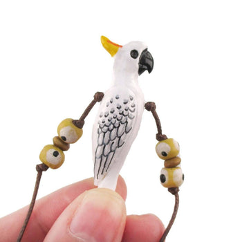 Handmade Cockatoo Parrot Bird Shaped Hand Painted Whistle Pendant Necklace | DOTOLY | DOTOLY