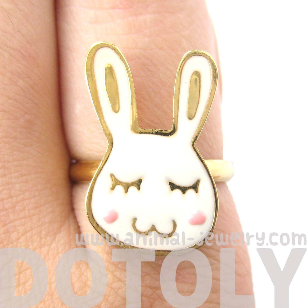 Handmade Cute Bunny Rabbit Shaped Animal Themed Adjustable Ring | Limited Edition | DOTOLY