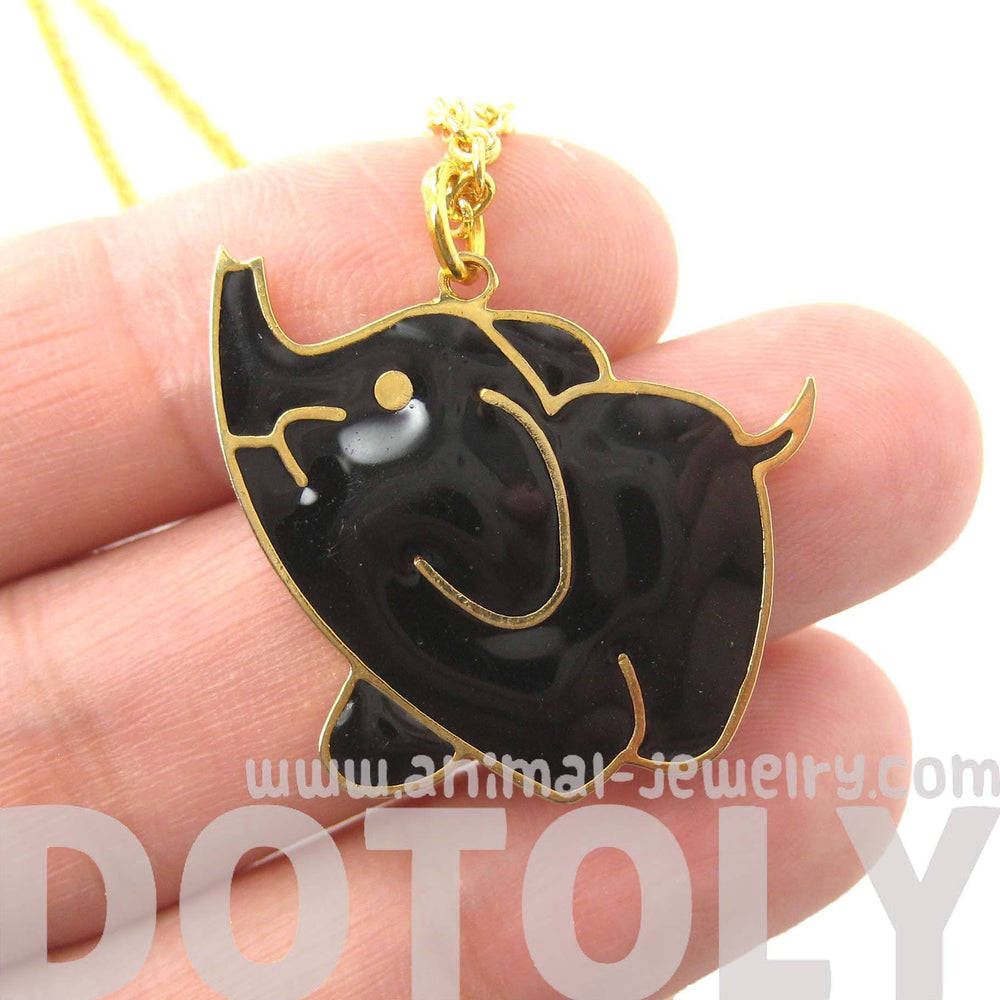 Handmade Elephant Shaped Animal Pendant Necklace in Black on Gold | Limited Edition | DOTOLY