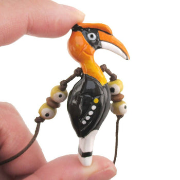 Handmade Great Hornbill Bird Shaped Hand Painted Whistle Pendant Necklace | DOTOLY | DOTOLY