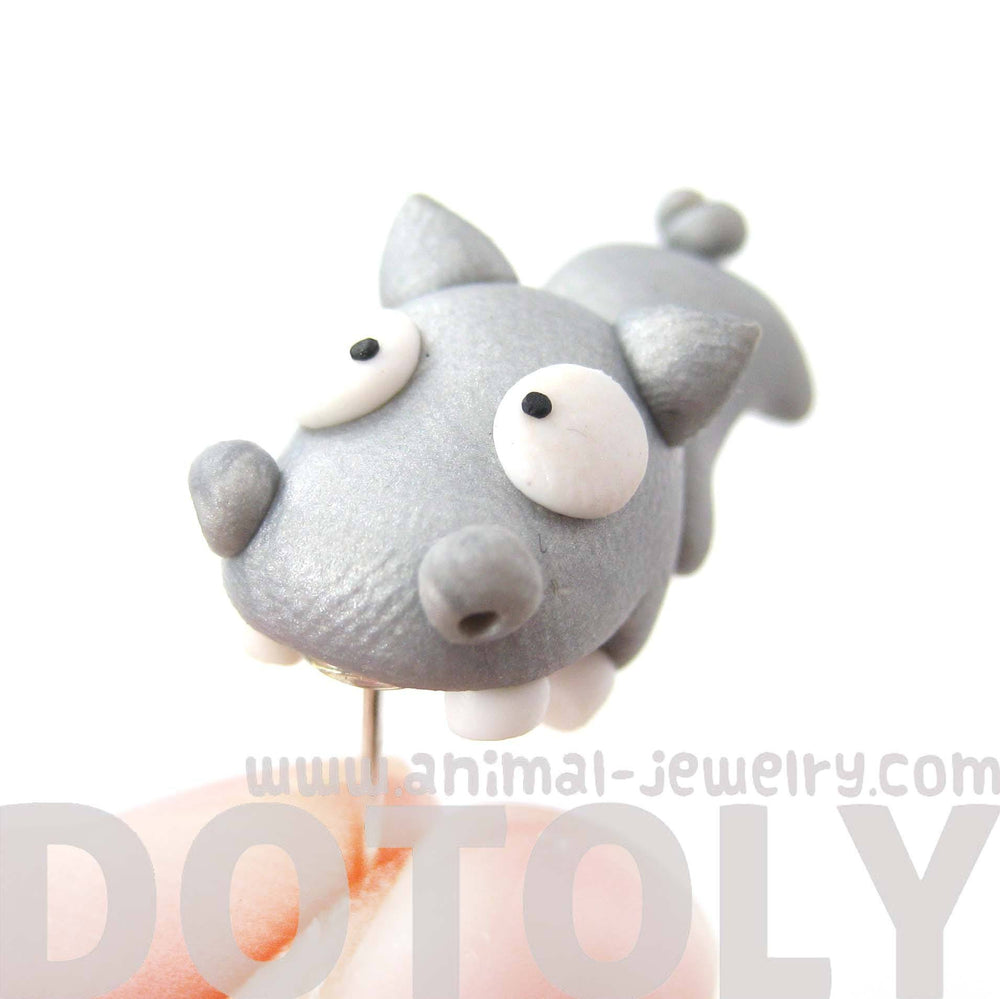 Handmade Hippo Biting Your Ear Animal Polymer Clay Stud Earring | DOTOLY | DOTOLY