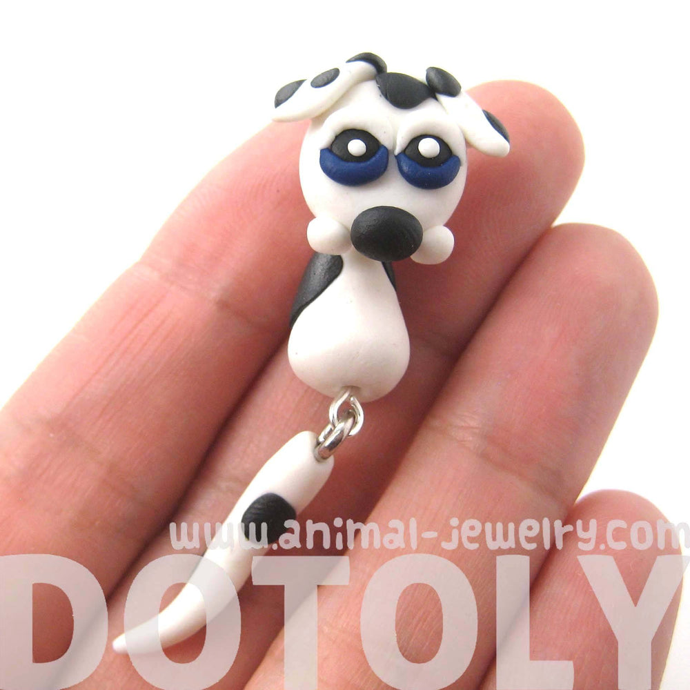 Handmade Puppy Dog Fake Gauge Two Part Polymer Clay Stud Earring in White | DOTOLY