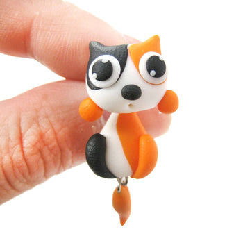 Handmade Kitty Cat Animal Two Part Polymer Clay Stud Earring in White and Orange | DOTOLY