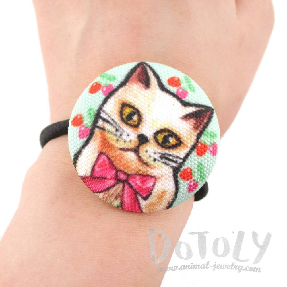 Handmade Kitty Cat with Ribbon Button Hair Tie Ponytail Holder| DOTOLY