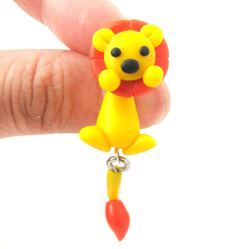 Handmade Lion Fake Gauge Two Part Polymer Clay Stud Earring | DOTOLY | DOTOLY