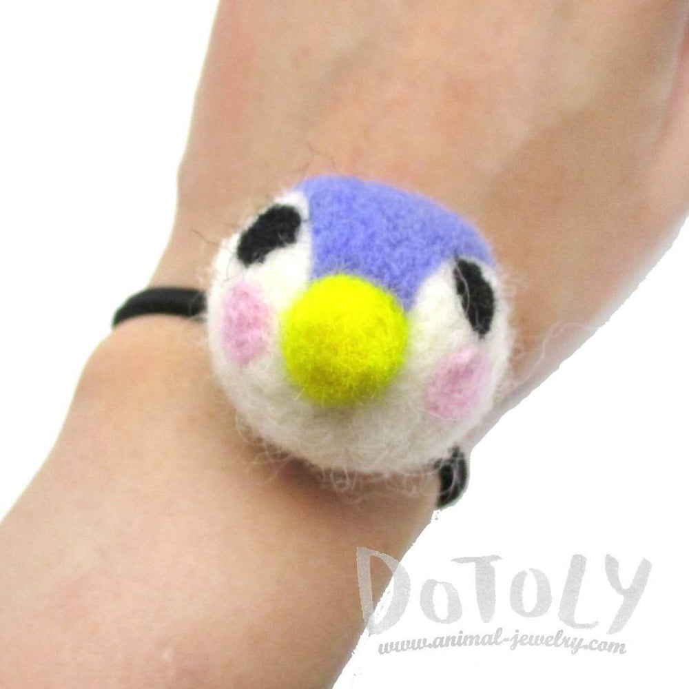 Handmade Needle Felted Wool Penguin Shaped Hair Tie | Hair Accessories