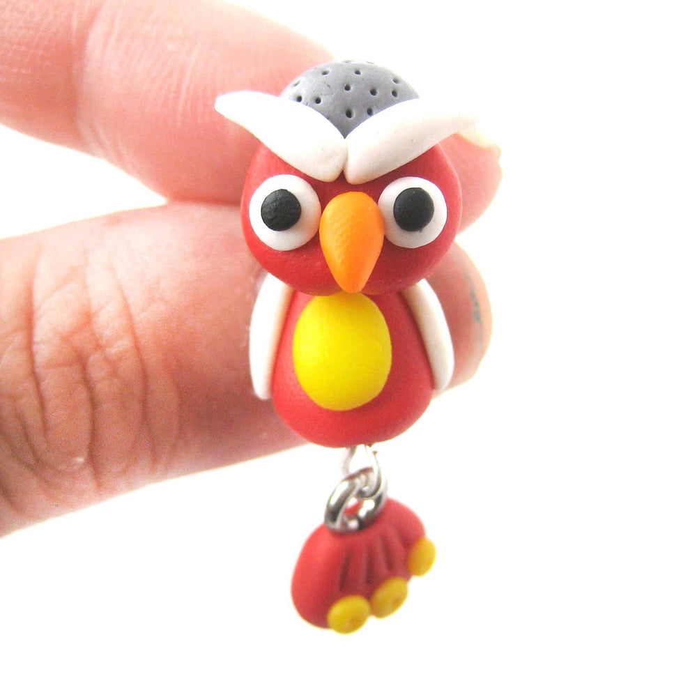 Handmade Owl Bird Fake Gauge Two Part Polymer Clay Stud Earring in Red | DOTOLY