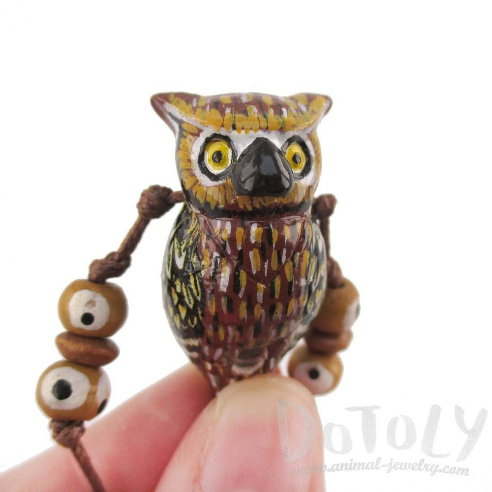 Handmade Owl Shaped Hand Painted Bird Whistle Pendant Necklace | DOTOLY | DOTOLY