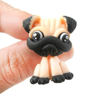 Handmade Pug Puppy Dog Fake Gauge Two Part Polymer Clay Stud Earring | DOTOLY