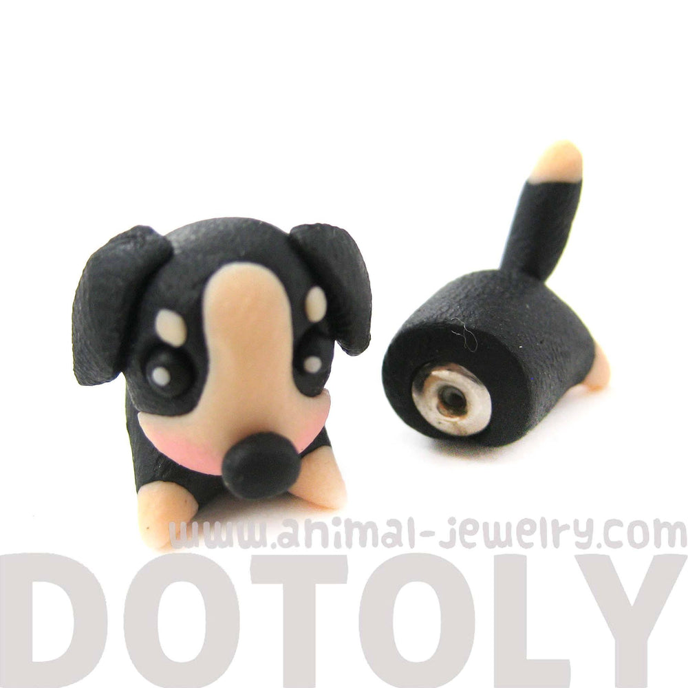 Handmade Puppy Dog Animal Fake Gauge Polymer Clay Stud Earring in Black and Tan | DOTOLY