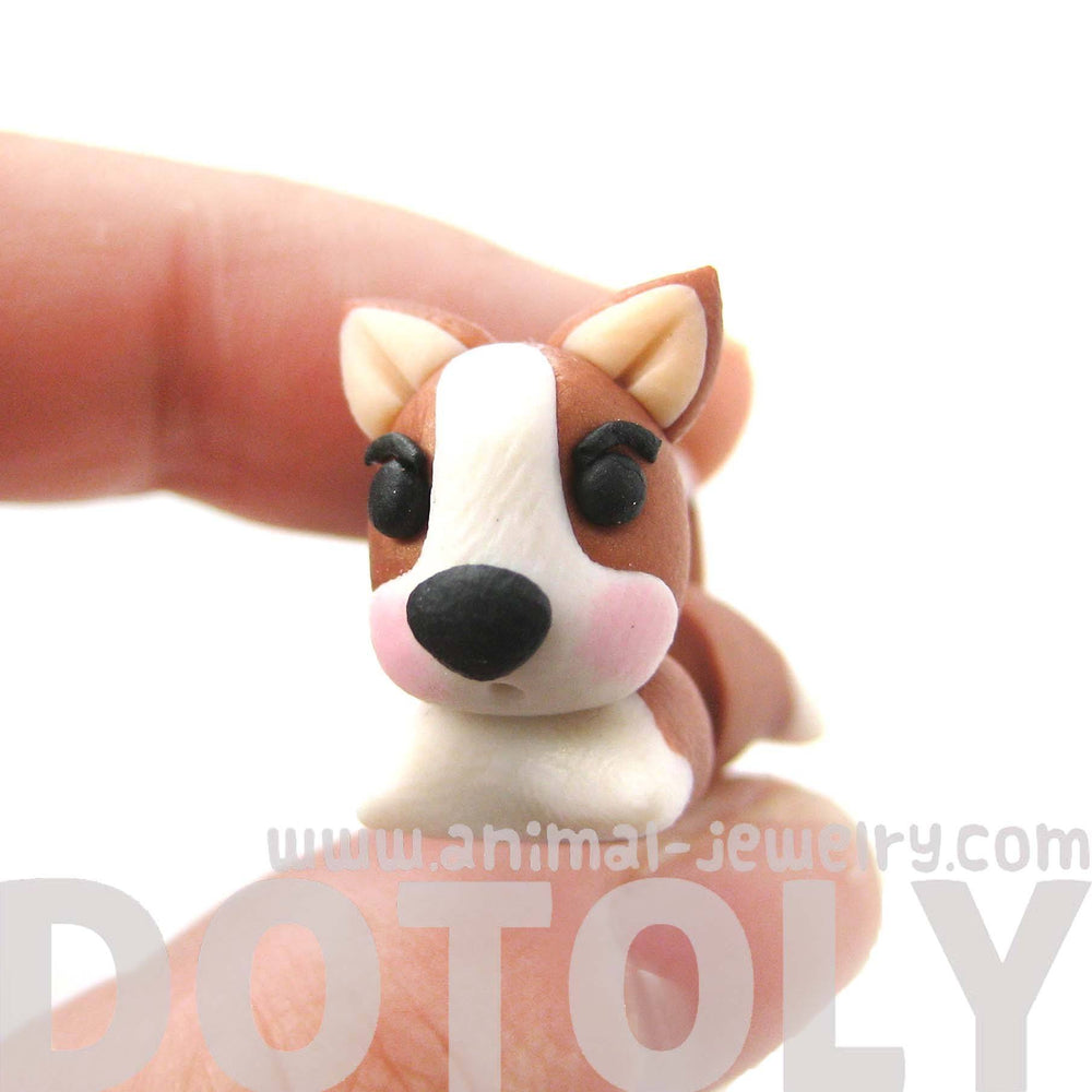 Handmade Puppy Dog Animal Fake Gauge Polymer Clay Stud Earring in Brown and White | DOTOLY