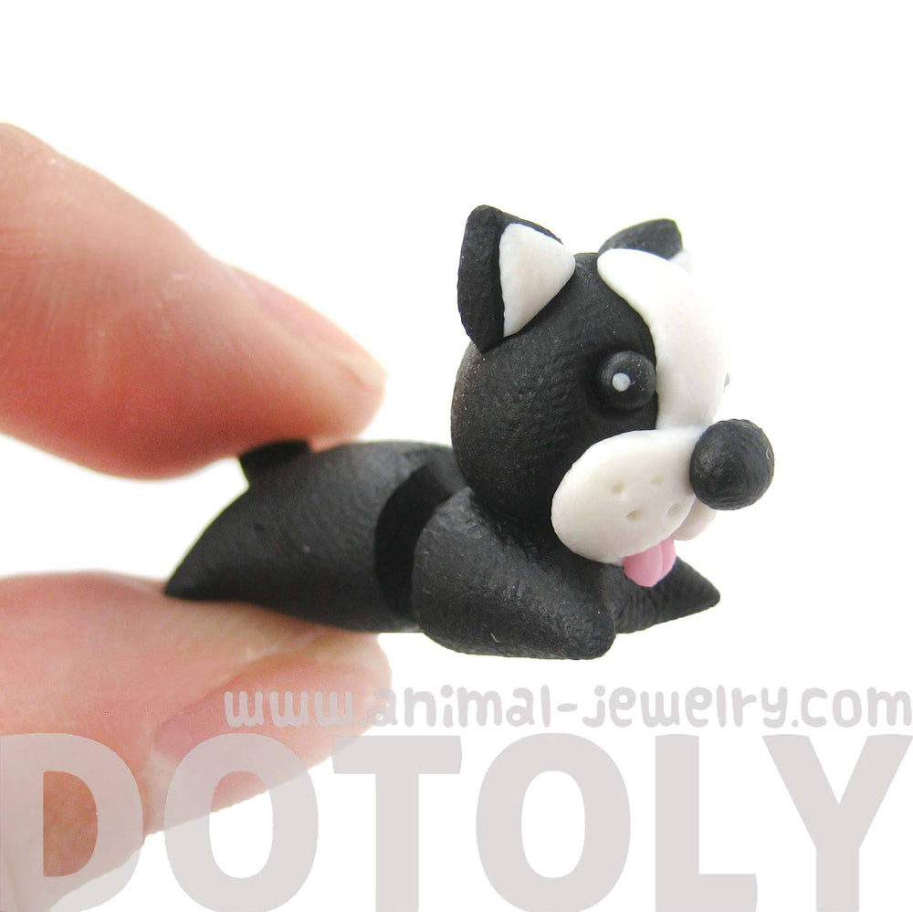 Handmade Puppy Dog Shaped Animal Fake Gauge Polymer Clay Stud Earring | DOTOLY