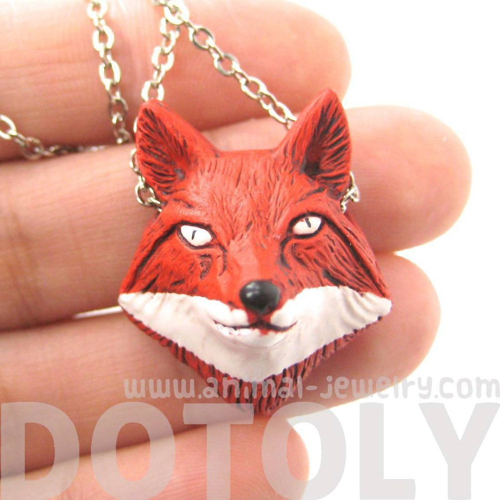 Handmade Red Fox Head Shaped Porcelain Ceramic Animal Pendant Necklace | DOTOLY