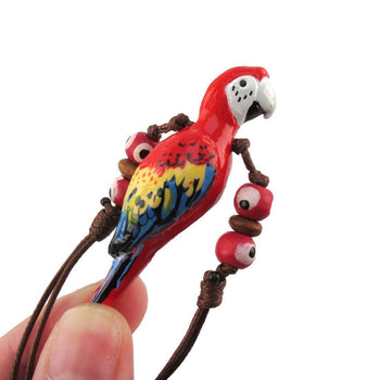 Handmade Red Macaw Parrot Bird Shaped Hand Painted Whistle Pendant Necklace | DOTOLY | DOTOLY