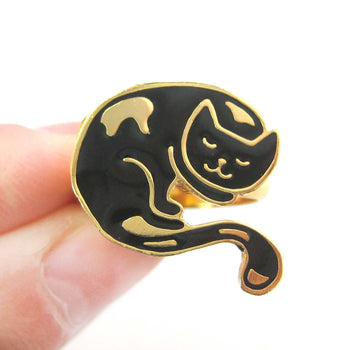 Handmade Sleeping Kitty Cat Shaped Animal Adjustable Ring in Black | Limited Edition | DOTOLY