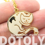 Handmade Sleeping Kitty Cat Shaped Animal Pendant Necklace in White | Limited Edition | DOTOLY