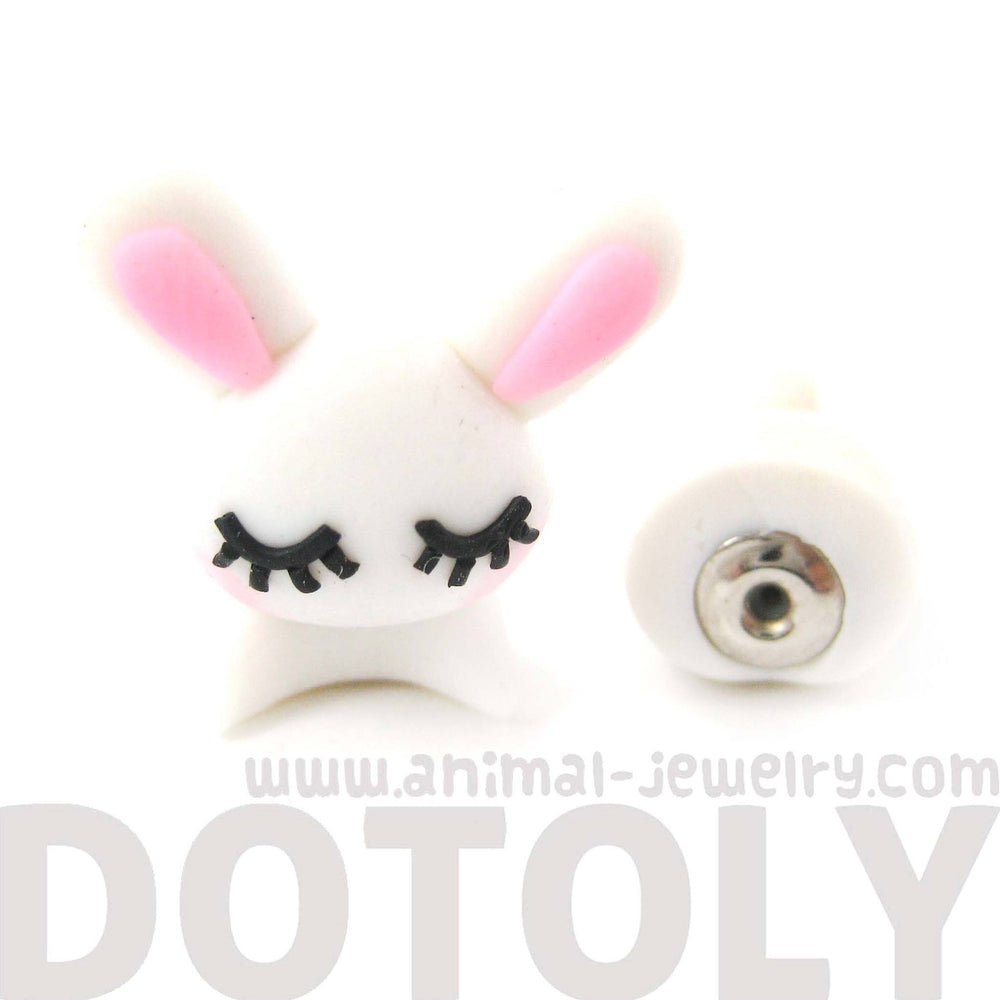 Handmade Sleepy Bunny Rabbit Animal Fake Gauge Polymer Clay Stud Earring | DOTOLY