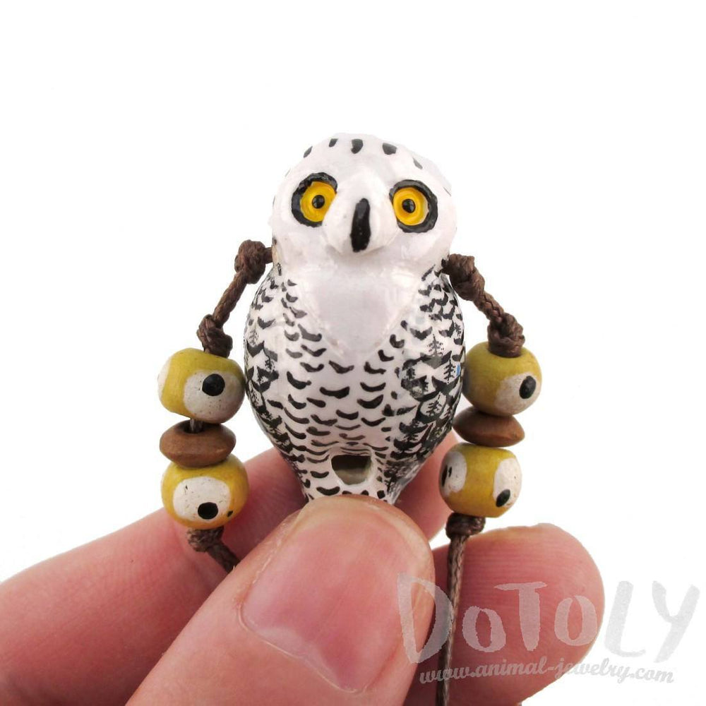 Handmade Snowy Owl Shaped Hand Painted Bird Whistle Pendant Necklace | DOTOLY | DOTOLY