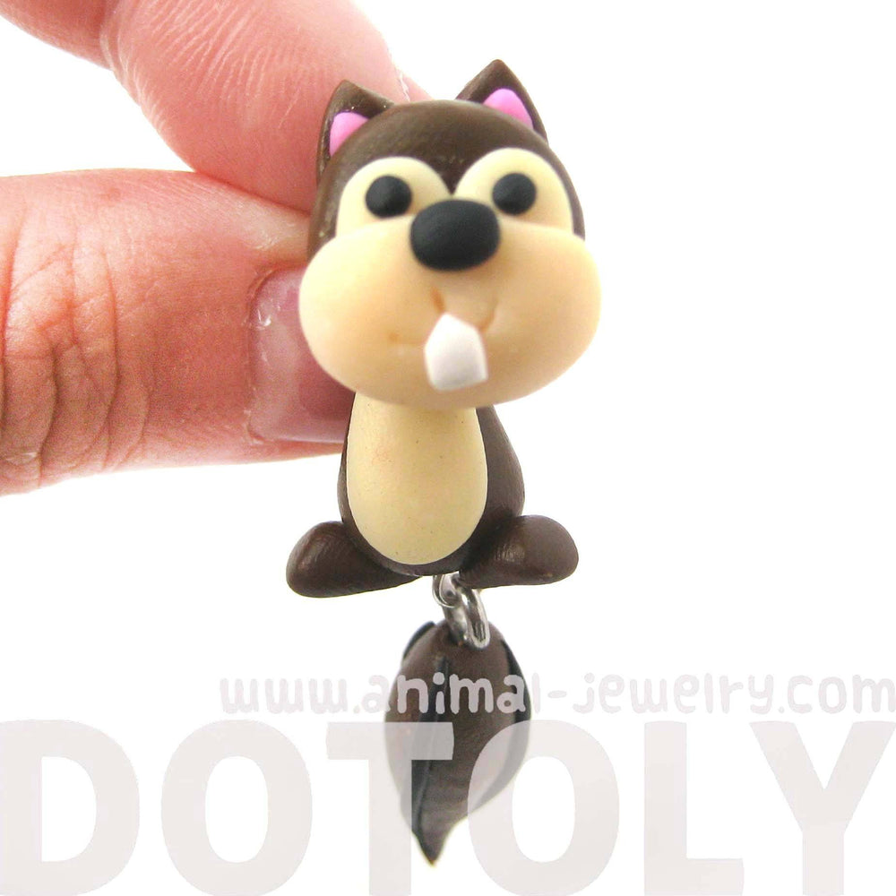 Handmade Squirrel Chipmunk Fake Gauge Two Part Polymer Clay Stud Earring | DOTOLY