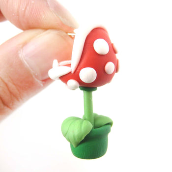 Handmade Super Mario Ear Biting Piranha Plant Polymer Clay Stud Earring | DOTOLY