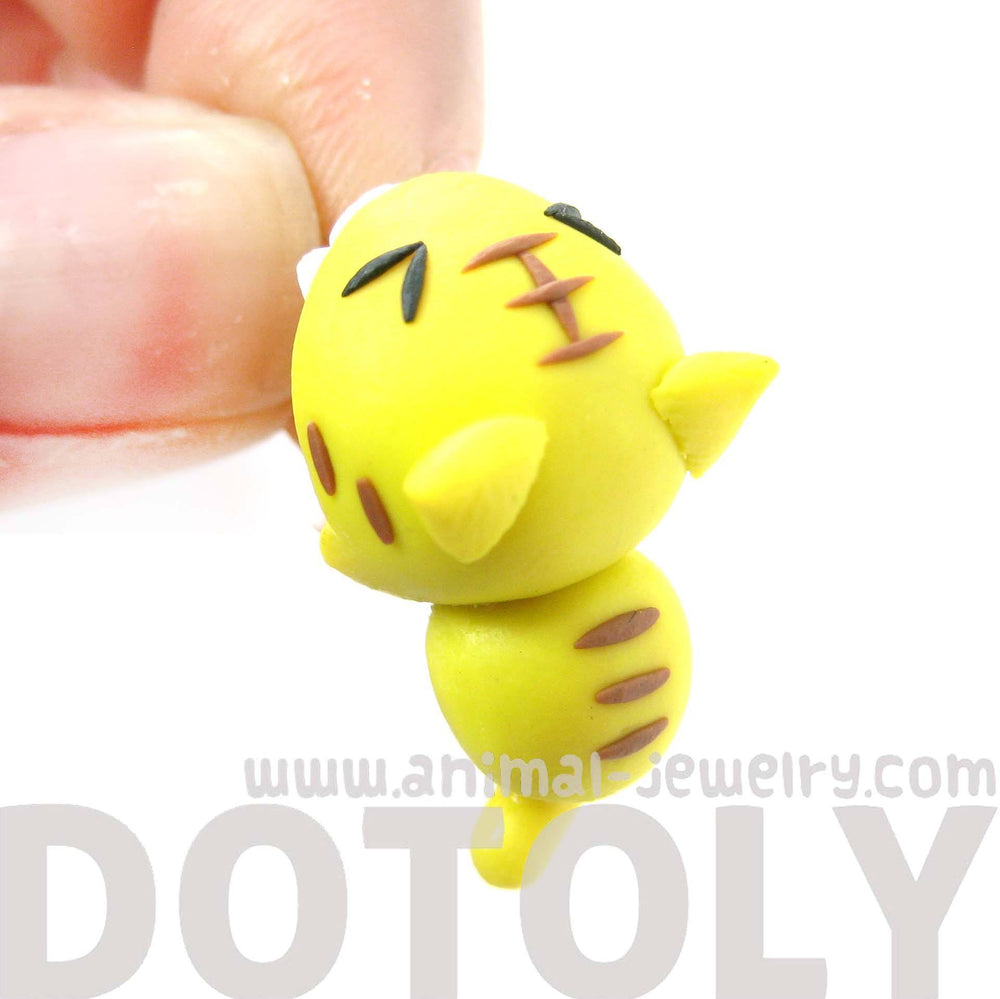 Handmade Tiger Cat Biting Your Ear Animal Polymer Clay Stud Earring | DOTOLY