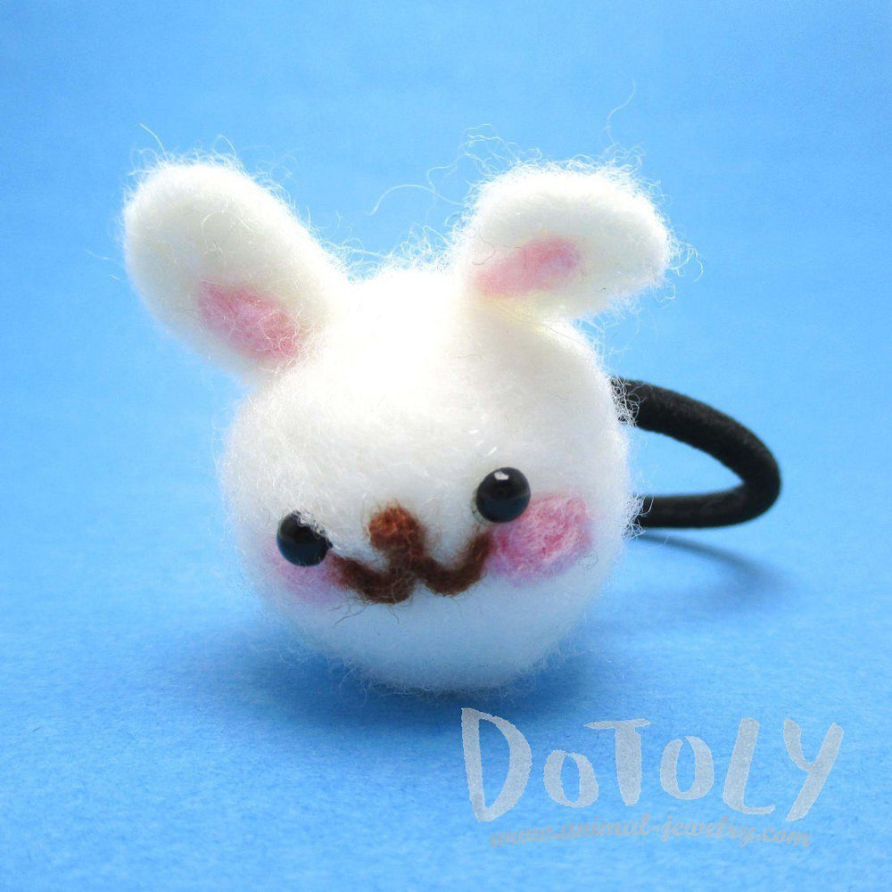 Handmade White Bunny Rabbit Needle Felted Wool Hair Tie | DOTOLY