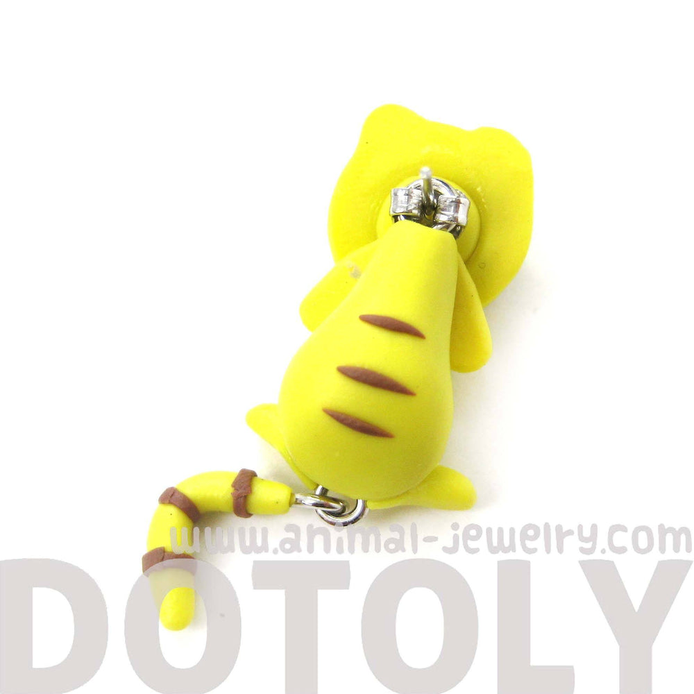 Handmade Yellow Tiger Cat Animal Fake Gauge Two Part Polymer Clay Stud Earring | DOTOLY