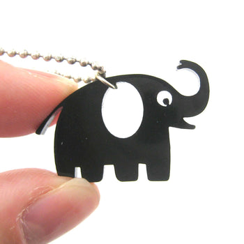 Happy Elephant Silhouette Shaped Pendant Necklace in Black Acrylic | DOTOLY | DOTOLY