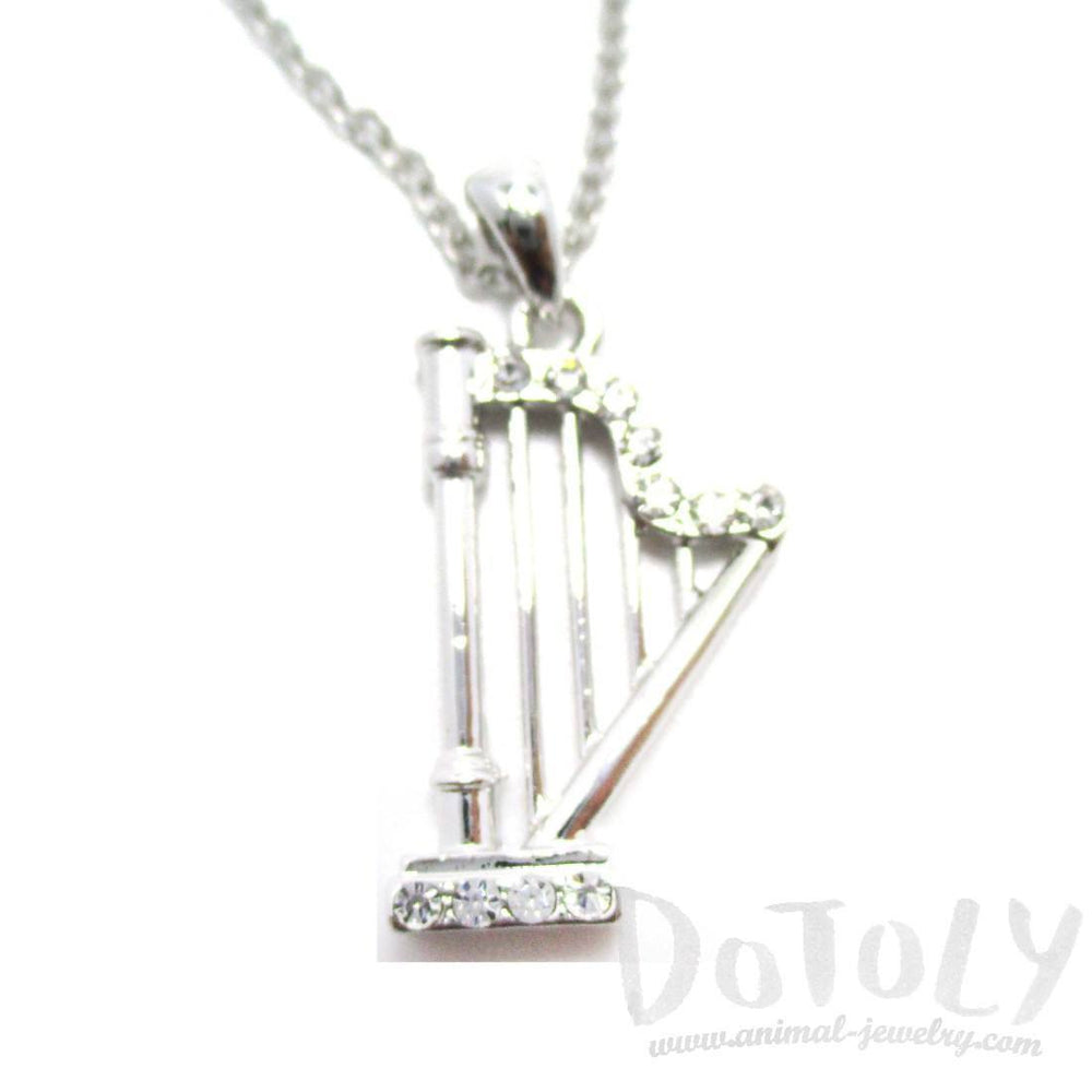 Harp Instrument Shaped Rhinestone Pendant Necklace in Silver | For Music Lovers | DOTOLY
