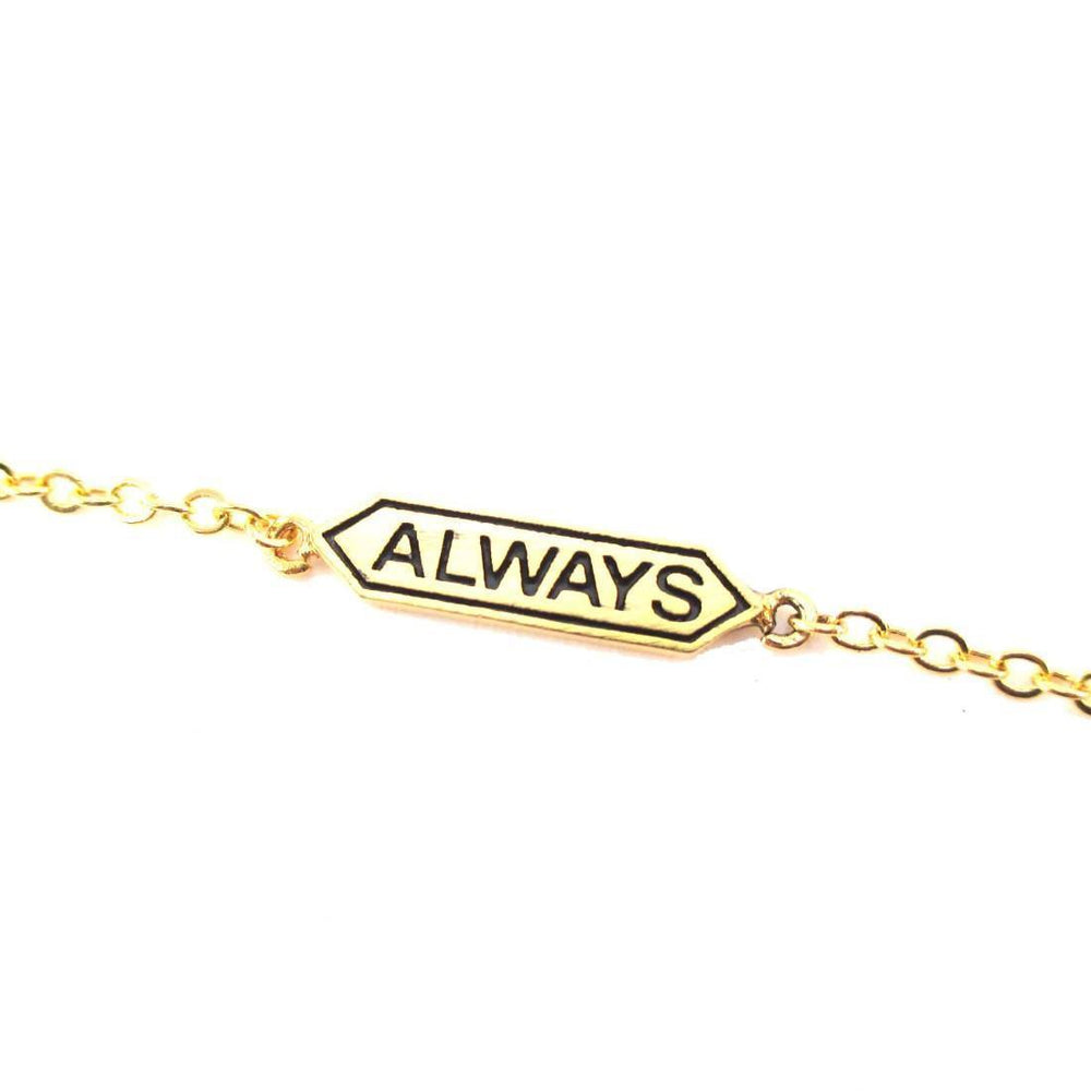 "Harry Potter Themed ""Always"" Snape and Lily Remembrance Charm Bracelet in Gold 