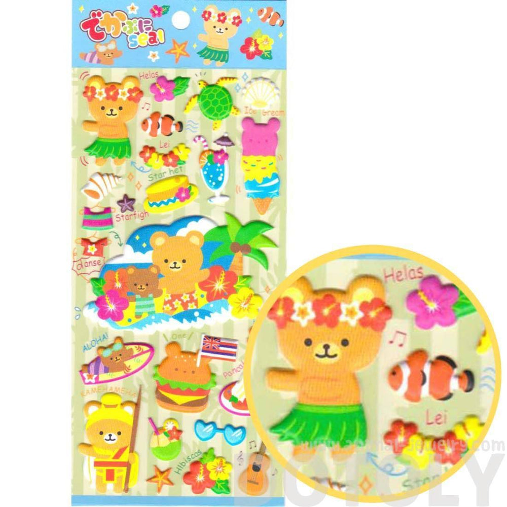 Hawaiian Teddy Bears Tropical Flowers Surf Cute Puffy Stickers for Scrapbooking | DOTOLY