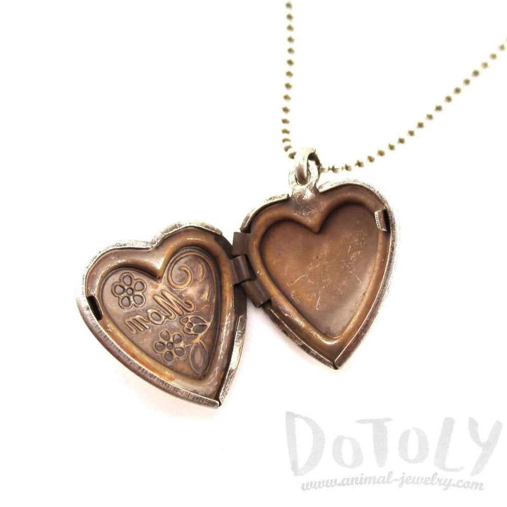 Heart Shaped Engraved Mom Floral Mothers Day Locket Necklace in Silver | DOTOLY | DOTOLY