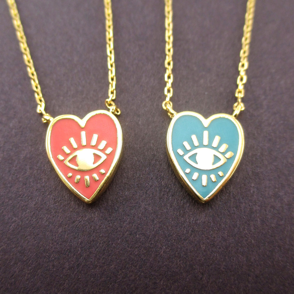 Heart Shaped Evil Eye All Seeing Eye Pendant Necklace in Pink or Blue