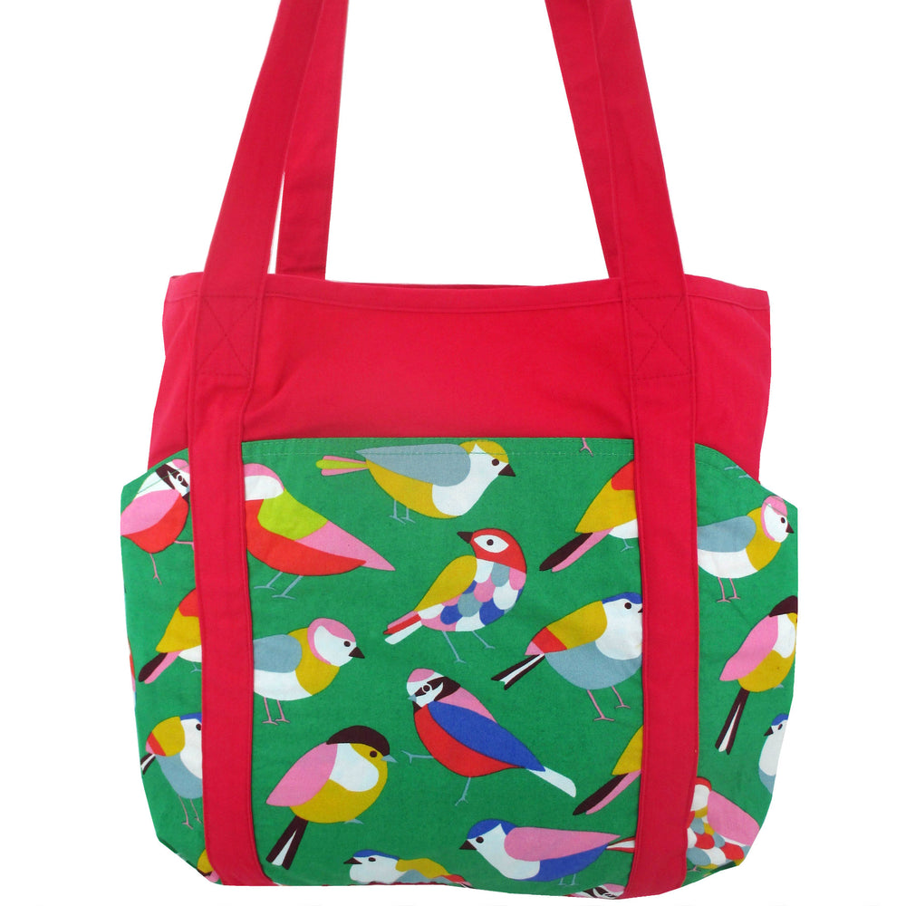 Colorful Bird All Over Print Large Carry All Shoulder Tote Bag with Many Pockets