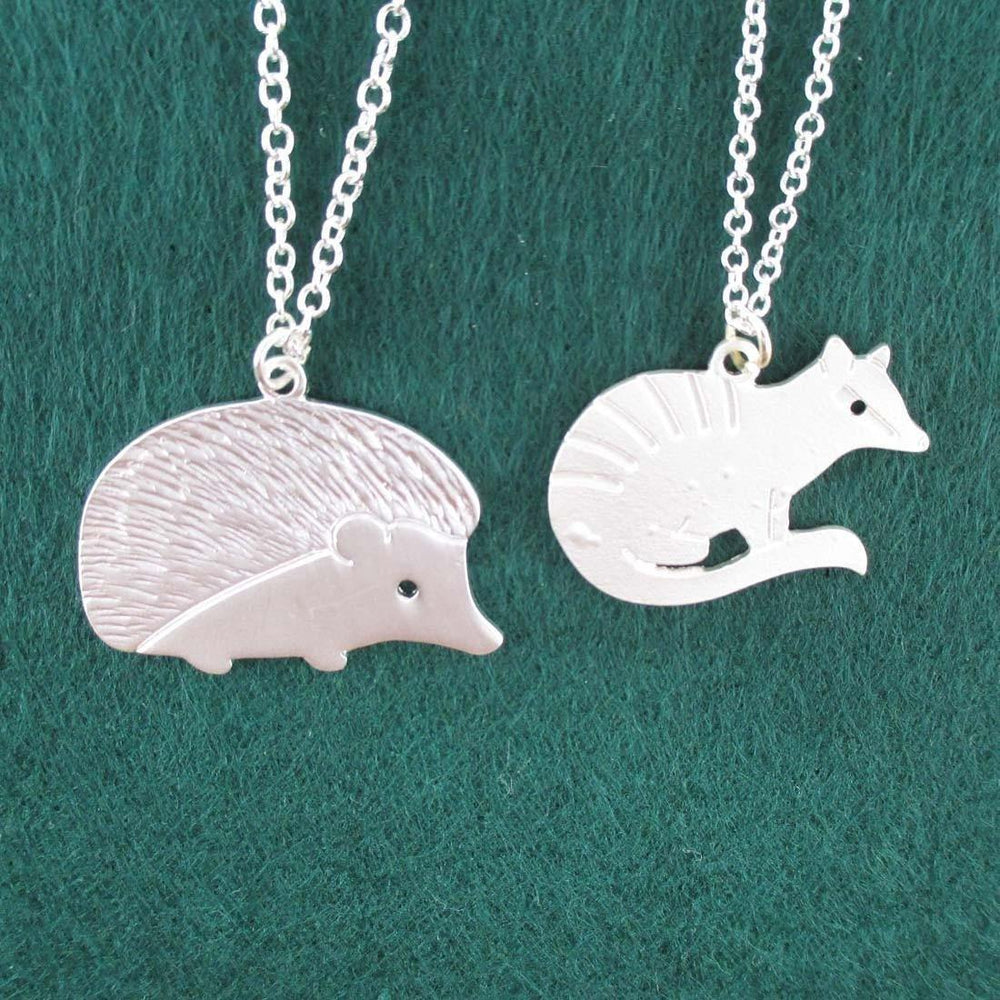 Hedgehog and Numbat Banded Anteater Shaped 2 Piece Necklace Set