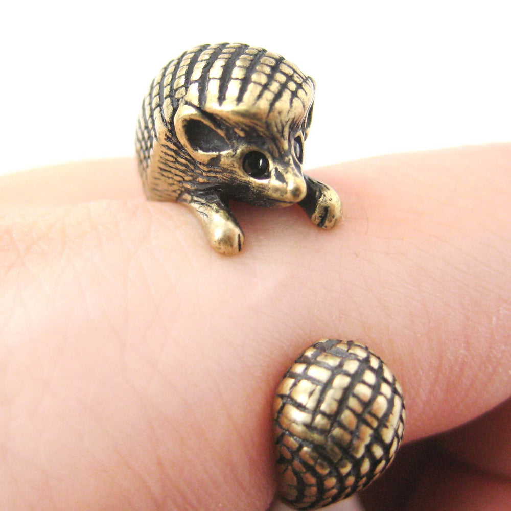 Hedgehog Porcupine Animal Wrap Around Ring in Brass - Sizes 4 to 9 Available | DOTOLY